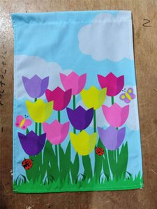 Wholesale 30 CM Garden Hanging flags Mother s Day Garden Flag Home Garden Courtyard Decoration Xmas Ornament