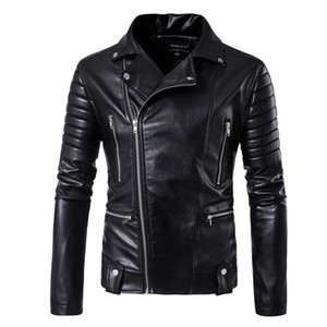Wholesale Wholesale- 2017 harley motorcycle rider jacket mens leather jacket man's genuine cowhide embroidery skull leather jacket slim coat