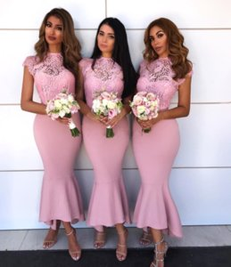 2019 Hot Selling Tea Length Pink Bridesmaid Dresses See-Through Lace Top Cap Sleeve Mermaid Maid Of Honor Gowns BA9241 BM0181