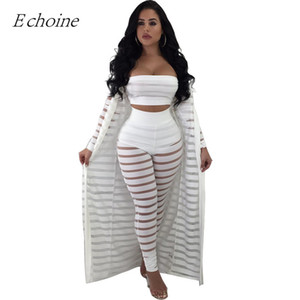 2018 Sexy Hollow Out 3 Pieces Set Womens Strapless Crop Top Sheer Stripe Mesh Pants Long Cardigan Set Plus Size Club Outfits