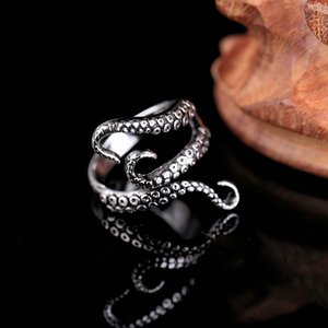 Wholesale Women Men Cool Rings Titanium Steel Gothic Ring Deep Sea Squid Octopus Finger Ring Fashion Jewelry Opened Adjustable Size