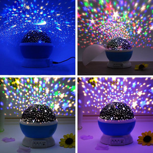 Stars Starry Sky LED Night Light Rotating Projector Lamp Bedroom Bedside Lights For Children Baby wedding party Christmas decorations gifts