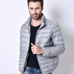 Wholesale Pure Color Youth Mens Long sleeved Down Coats Multi color Choice Autumn and Winter Light Warm Down Jacket Men