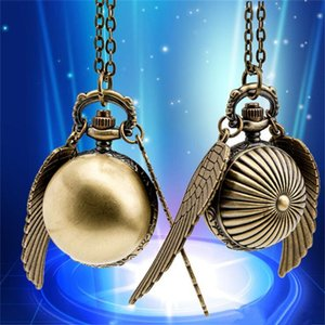 Wholesale Vintage Bronze Pocket Watch Men Women Unisex Quartz Wactches Necklace Pendant Alloy Chain Fashion Wing Gift Pocket Watches