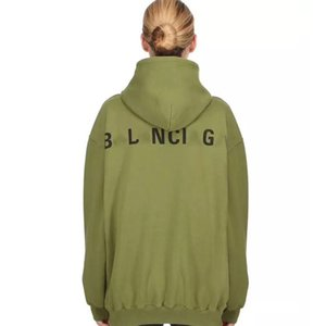 Wholesale Luxury European Matcha Green Sweater Vintage Street Fashion Big Logo Long Sleeve Comfort Loose Men And Women Couple Hooded Sweater HFSSWY045