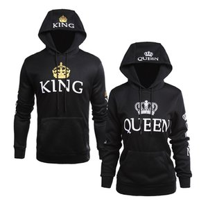 Wholesale new style men and women casual jacket QUEEN KING printing hooded long sleeved lovers sweater hoodies