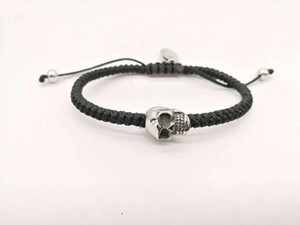 New Original Design Bracelet for Men Women Braided Wax Cord with Stainless Steel Skull Head Fashion Jewelry Lemon818
