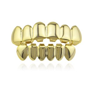 Wholesale Hip Hop Gold Teeth Grillz Top Bottom Grills Dental Mouth Punk Teeth Caps Cosplay Party Tooth Rapper Jewelry Gift