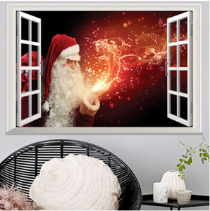 Wholesale Christmas Wall Sticker Faux Window Stickers Deer Santa Claus D Sticker Creative Xmas Decal Christmas Home Living Room Bedroom Decoration