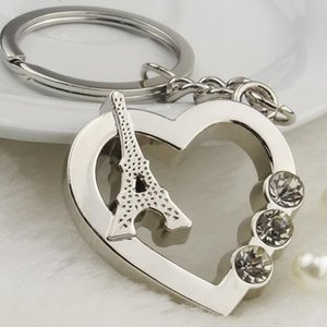 Wholesale 200pcs Metal Heart Shaped Keyrings Paris Tower Keychains for Tourist Souvenirs Promotion Gifts