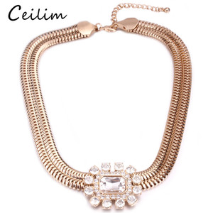 Wholesale 2018 New Arrival Choker Invisible Box Chain Crystal Rhinestone Necklace Pendants Neck Women Clavicle Chain Lady Feminino Collar Punk Gothic