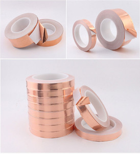 20  30 Meters Single Side Conductive Copper Foil Tape Strip Adhesive EMI Shielding Heat Resist Tape on Sale