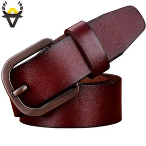 Wholesale Genuine leather belts men High quality man belt Casual designer cowhide strap for jeans cowboy Wide Pin buckle girdle male Brown