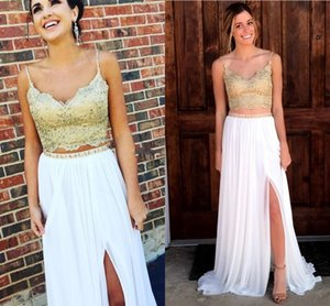2018 Two Piece White and Gold Evening Dresses Wear V Neck Spaghetti Straps Lace Appliques Beaded Split Chiffon Sweep Train Prom Party Gowns on Sale