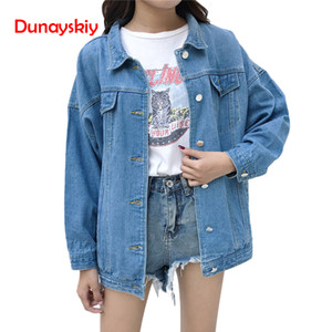 Wholesale Dunayskiy Women Blue Long Sleeve Loose Denim Jackets Casaco Feminino Spring Autumn Femme Korean Style Casual Clothes Basic Coats Y18110501