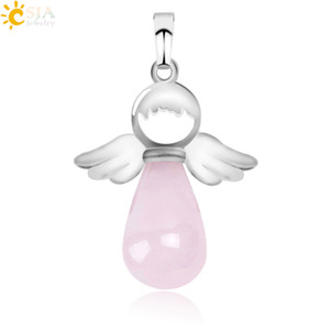 Wholesale CSJA New Natural Stone Pendant for Necklace Pink Rose Quartz Onyx Silver color Angel Wings Water Drop Pendants Female Jewelry Gift E949 A