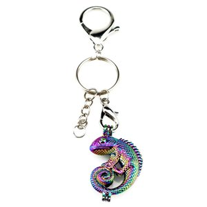 Wholesale Silver Plated Key Chains Keychain Key Ring Clasp with Rainbow Color Lizard Pearl Beads Cage Locket Pendant Beauty Gift Y240