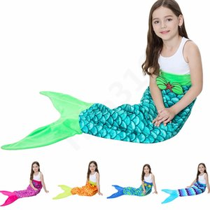 Wholesale 135*56cm Mermaid Tail Mermaid Tail Adult Sofa Knit Blanket Quilt Rug Cocoon Sleeping Sack Tail Blankets 13 color 150pcs T1I999