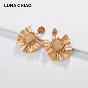 Wholesale LUNA CHIAO Spring Summer New Trendy Women Fashion Earrings Raffia Drop Statement Earring Jewelry