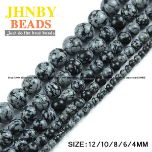 Wholesale JHNBY Top quality Natural Stone Snowflake stone Alabaster beads Round Loose beads ball MM Jewelry bracelet making DIY