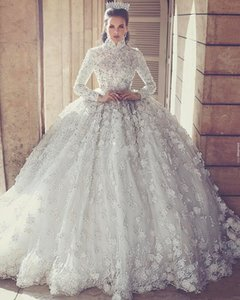 Wholesale 2019 D Floral Appliques Muslim Long Sleeve Full Lace Wedding Dresses Ball Gowns High Neck Crystals Puffy Plus Size Wedding Gowns