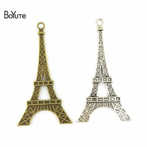 Wholesale BoYuTe Pieces MM Two Colors Vintage Metal Alloy Hollow Eiffel Tower l Crown Charms for Jewelry Making Diy Necklace Accessories