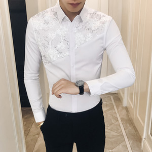 Quality Sexy Lace Patchwork Tuxedo Autumn New 2018 Slim Fit Men Shirt Long Sleeve Casual Night Club Party Dress Shirts Men 3XL-M