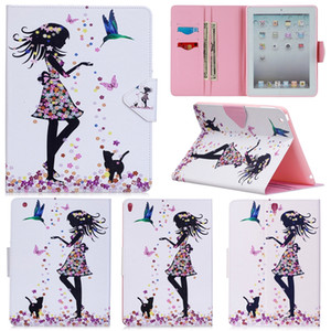 Wholesale Fashion D Butterfly girl Painting Stand Leather Case for Apple iPad Flip Wallet Case