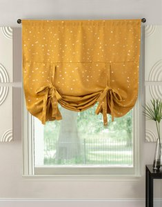 Wholesale Children Room Curtain Window Sun Shade Mesh Fabric Sun Visor Shade Cartoon Curtains Yellow With Sliver Star Rome Style Baby Loved