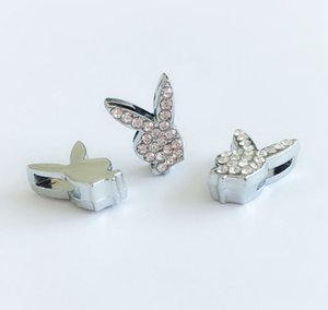 Wholesale 8mm sliding charms resale online - 30PCs MM Full Rhinestone Rabbit Head Slide Charms DIY Accessory Fit mm Bracelet Wristbands Pet Collar Name Belts
