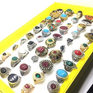 Wholesale MIXMAX mixed gold vintage ring women men unisex colorful beautiful Individuality retro alloy jewelry bulk