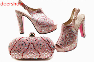 Wedding Shoe and Bag Set Women Shoes and Bag Set In Italy Design Italian Shoes with Matching Bag Set Summer Dress Shoes !MQ1-3