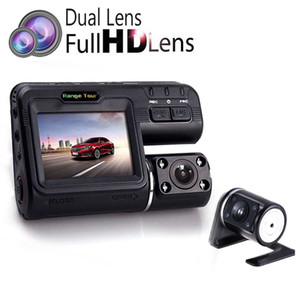 Wholesale I1000S Dual Lens Car DVR Camera Full HD P Rear View Cam quot LCD With LED Light Night Vision H Dash Cam Degree
