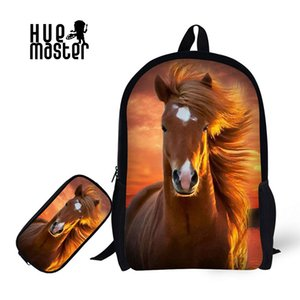 Wholesale Children School Backpack With Pencil Case Horse Print School Bags For Boy Girl Student Schoolbag Pencil Bag Learning combination