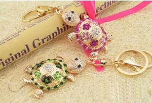 Wholesale Lovely diamond encrusted color gold longevity turtle male and female key chain car pendant chain key ring