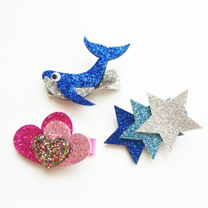 Wholesale 20pcs Blue Glitter Felt Faux Leather Star Hair Clip Hot Pink Heart Shape Barrette Cute Ocean Park Animal Dolphin Hairpin