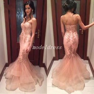 Wholesale gold dres for sale - Group buy Elegant Mermaid Prom Dresses Sweet Heart Backless Sweep Train Appliques Long Formal Evening Party Gowns abiti da ballo Special Occasion Dres