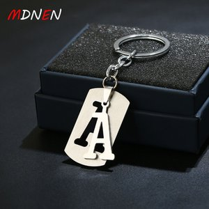 MDNEN New DIY Letters A-Q Metal keychain Rhodium Plated Alloy Key Chains Simple Letter Name Key Ring for Birthday Party KC39-1
