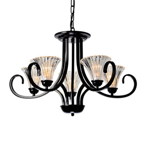 ingrosso lampadari rustici-Vintage Country Rustic Dining Room Chandeliers Pendant Light Soggiorno americano Black Iron Glass Chain loft Camera da letto a sospensione