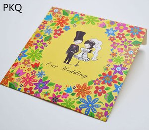 Wholesale 50pcs Yellow cd wedding paper box cd vcd dvd packaging cover boxes envelopes wedding favor dvd sleeve