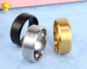 Wholesale 1000pcs 8MM Stainless Steel Ring Band Titanium Silver Black Gold Men Wedding engagement Rings J139