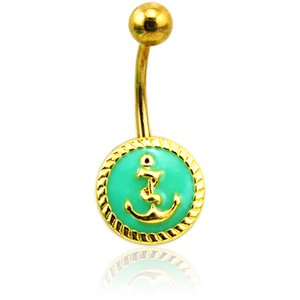 Wholesale Fashion Belly Button Rings Stainless Steel Barbell Enamel Anchor Navel Rings For Men Body Piercing Jewelry