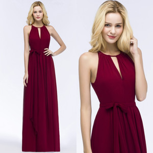 Wholesale 2018 Burgundy Chiffon Long Bridesmaid Dresses Halter Ruched Sash Floor Length Summer Beach Wedding Guest Evening Dresses CPS868