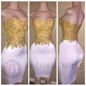 Wholesale modern formal african short dresses resale online - 2021 Sexy Saghetti Strap Gold Lace Appliques Beading Prom Dresses Short Knee Length Slim Long African Cocktail Party Gowns Formal