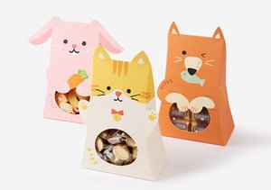 20pcs Cute Cat Animal Paper Candy Box Kids Birthday Party Decoration Baby Shower Paper Gift Chocolate Bag With Window Party Favor