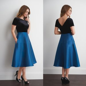 Wholesale Jasmine Mother Of The Bride Dress A Line Jewel Short Sleeves Blue Taffeta Tea Length Plus Size Party Dresses