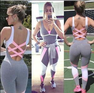 Wholesale-Women's Sports YOGA Workout Gym Fitness Leggings full length Pants Jumpsuit Athletic Clothes for gym running set sportwear