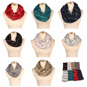Wholesale Women big girls White Burgundy Navy Music Note Sheet Music Piano Notes Script Scarves Ladies Infinity Scarf Shawl ring neckerchief