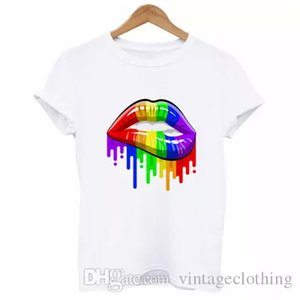 Wholesale Rainbow Pride Lips Hot Sale Summer T Shirt Women Harajuku Kwaii Girl T shirt O neck White Tshirt Female Tumblr S XL