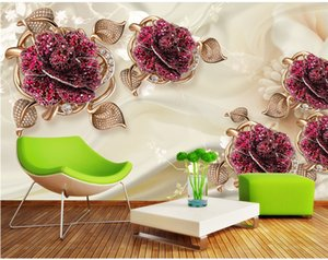 Wholesale Custom Photo Wallpaper Wall Stickers Fresco 3D European Luxury Elegant Jewelry Flower TV Background papel de parede